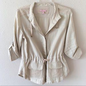 Saint Tropez West beige linen utility top/jacket